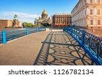 shadows on the blue bridge in... | Shutterstock . vector #1126782134