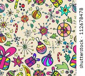 Christmas pattern with color elements, seamless background - stock photo