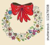 Vintage Christmas wreath, color illustration - stock photo