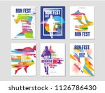 run fest posters set  sport and ... | Shutterstock .eps vector #1126786430