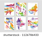 run fest posters set  sport and ... | Shutterstock .eps vector #1126786433