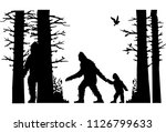 Stock vector silhouette of the bigfoot family animals in the forest silhouettes of trees birds silhouettes 1126799633