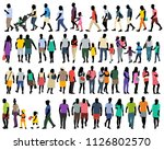 silhouette in colored clothes ... | Shutterstock .eps vector #1126802570