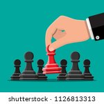 hand chooses red unique chess... | Shutterstock .eps vector #1126813313