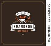 grill restaurant logo vector... | Shutterstock .eps vector #1126826930
