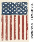grunge american flag.old dirty  ... | Shutterstock .eps vector #1126831916