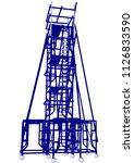 scaffolding frame 4 floors... | Shutterstock .eps vector #1126833590