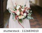 fashionable wedding bouquet in ... | Shutterstock . vector #1126834010
