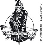 grim reaper with compound bow | Shutterstock .eps vector #1126834040