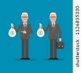 old businessman holds bag money ... | Shutterstock .eps vector #1126835330