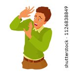 the young man is frightened ...   Shutterstock .eps vector #1126838849