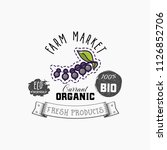 bio sticker and eco products.... | Shutterstock .eps vector #1126852706