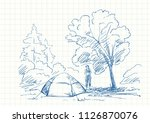 tent and woman at campsite... | Shutterstock .eps vector #1126870076