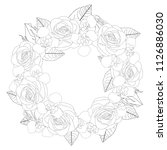 rose and iris flower wreath... | Shutterstock .eps vector #1126886030