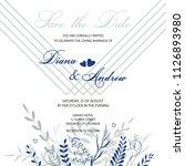 wedding invitation. card ... | Shutterstock .eps vector #1126893980