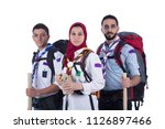 scout team two men and girl... | Shutterstock . vector #1126897466