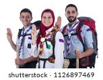 scout team two men and girl... | Shutterstock . vector #1126897469
