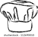 chef hat vector line drawing | Shutterstock .eps vector #112690010