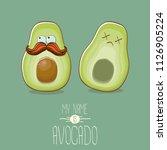 funny cartoon cute green...   Shutterstock .eps vector #1126905224