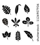 black leaves icon set isolated... | Shutterstock .eps vector #1126907936