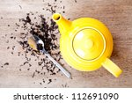 yellow teapot with spoon and... | Shutterstock . vector #112691090