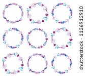 set of hand drawn floral wreath.... | Shutterstock .eps vector #1126912910