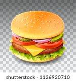vector realistic hamburger... | Shutterstock .eps vector #1126920710