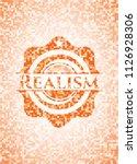 realism orange mosaic emblem... | Shutterstock .eps vector #1126928306