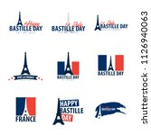 set of happy bastille day... | Shutterstock .eps vector #1126940063