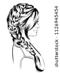 woman with braid. fashion... | Shutterstock .eps vector #1126945454