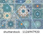 vector patchwork quilt pattern. ... | Shutterstock .eps vector #1126947920
