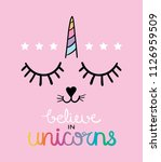 believe in unicorns text and... | Shutterstock .eps vector #1126959509
