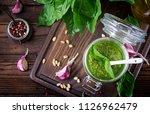 homemade pesto sauce fresh... | Shutterstock . vector #1126962479