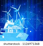 a modern house and windmills on ... | Shutterstock .eps vector #1126971368