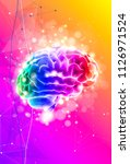 human brain on a color... | Shutterstock .eps vector #1126971524