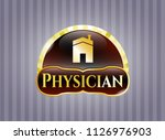 gold badge with house icon and ... | Shutterstock .eps vector #1126976903