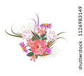 bouquet of cute garden flowers. ... | Shutterstock .eps vector #1126983149