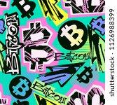 bitcoin doodle style seamless... | Shutterstock .eps vector #1126988399