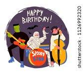 halloween monsters music band.... | Shutterstock .eps vector #1126992320
