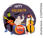 halloween monsters music band.... | Shutterstock .eps vector #1126992326