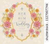 indian wedding invitation card... | Shutterstock .eps vector #1127007746