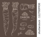 collection of daikon  root and... | Shutterstock .eps vector #1127009930