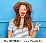 young stylish girl model in... | Shutterstock . vector #1127010950