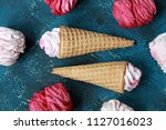 homemade pink marshmallow with... | Shutterstock . vector #1127016023