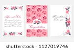 botanic card with pink roses ... | Shutterstock .eps vector #1127019746
