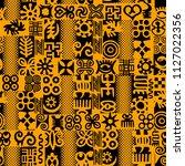 african adinkra pattern   black ... | Shutterstock .eps vector #1127022356