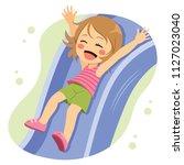 cute character girl going down... | Shutterstock .eps vector #1127023040