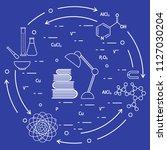 scientific  education elements. ... | Shutterstock .eps vector #1127030204