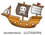 cartoon  pirate ship  sailboat  ... | Shutterstock .eps vector #1127030396