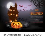 halloween background with... | Shutterstock .eps vector #1127037140